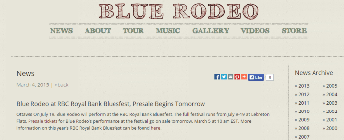 Blue Rodeo Bluesfest 2015