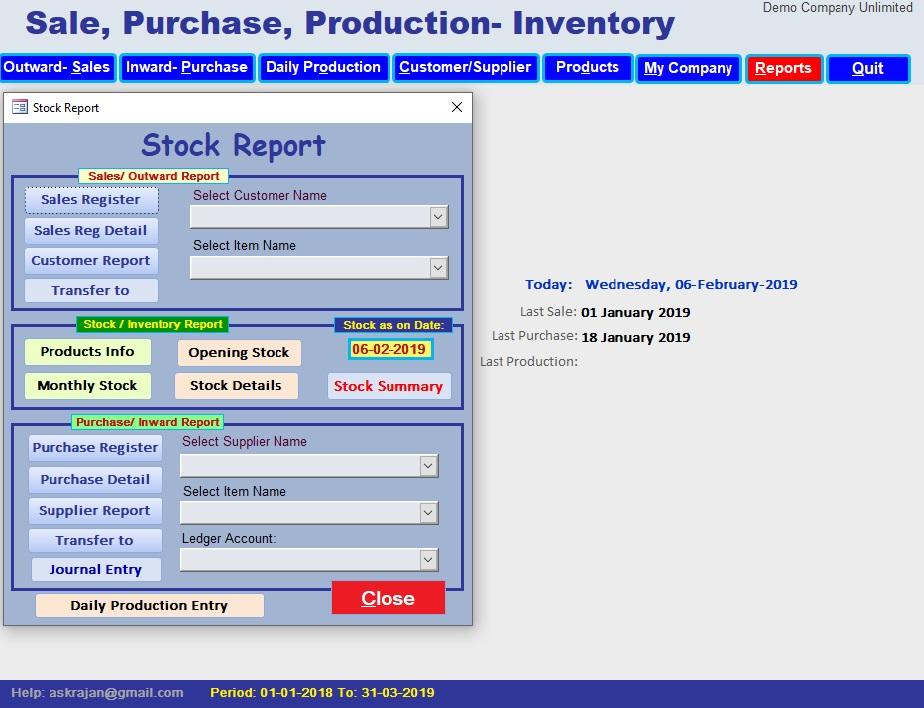 Sale Invoice, Purchase, Production or Inward, Outward - Inventory