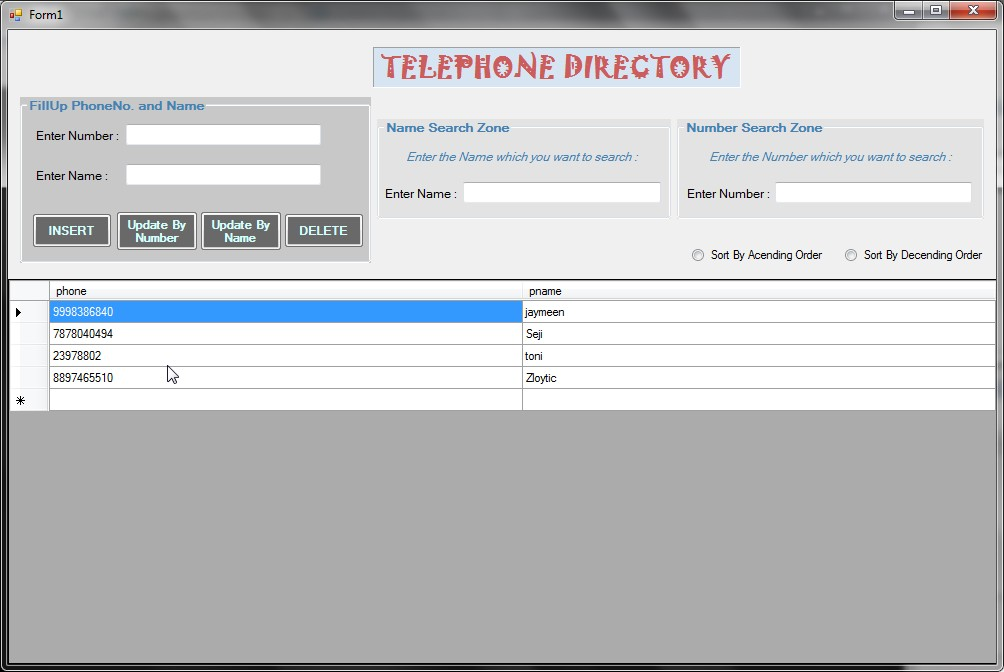 Telephone Directory System with Live Search Free source code