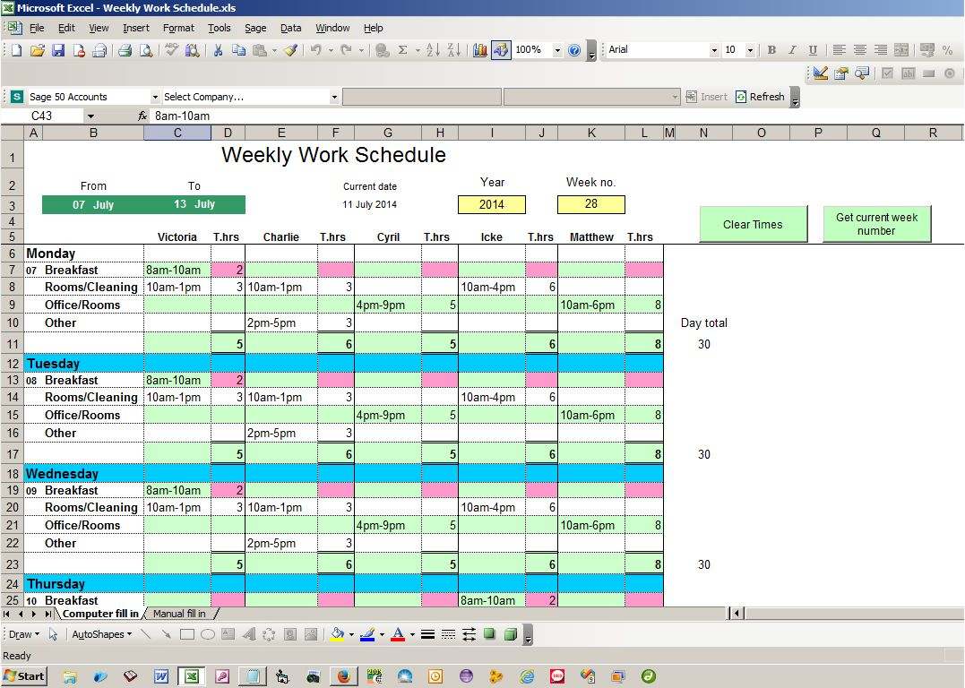 Catalog Bates College Weekly Work Schedule Excel Spreadsheet Free Source Code