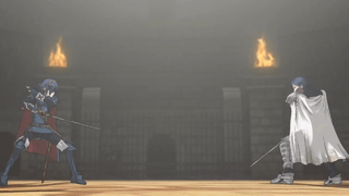 Chrom and the masked Marth duel at the arena in the chapter's CGI animated scene. Robin and Lucina's Smash Bros. trailer shares the same setting.