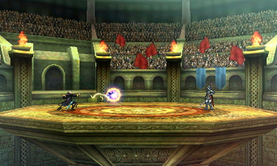 Arena Ferox, as seen in Super Smash Bros. for Nintendo 3DS. Besides the addition of a bottomless pit, the stage is near recreation from the original game.