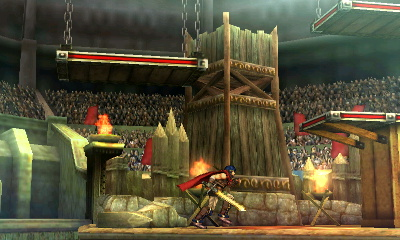 In this form, what appears to be a watchtower appears in the background. Most of these elements have nothing to do with Arena Ferox, but depict structures found in many of the Fire Emblem series' scenarios.