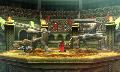 This layout is reminiscent of the second part of Brawl's Castle Siege stage, with human statues holding platforms.