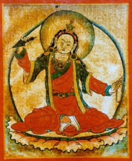 Yeshe Tsogyel wields the  phurba, a three sided ritual blade