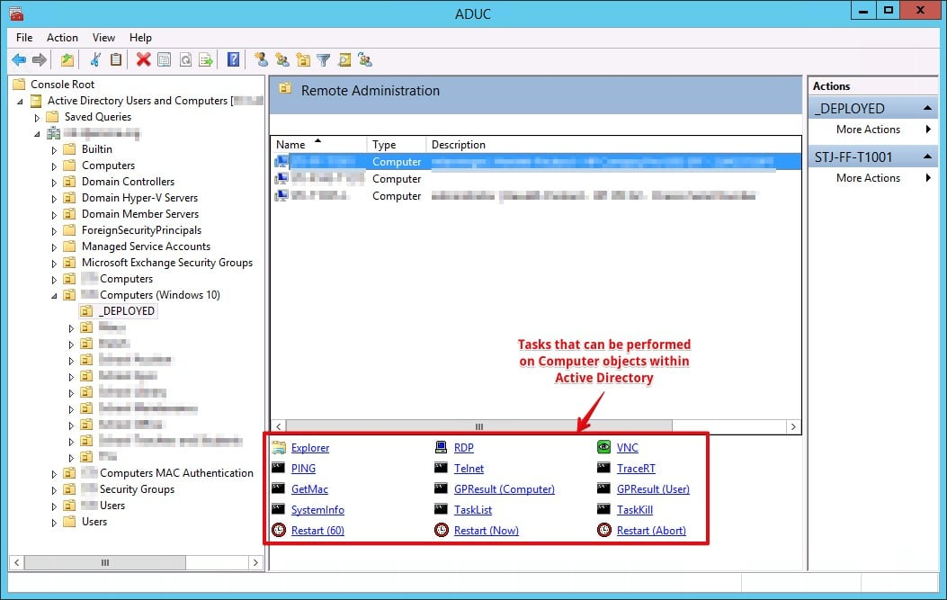 Adding functionality to the Active Directory Users and Computers