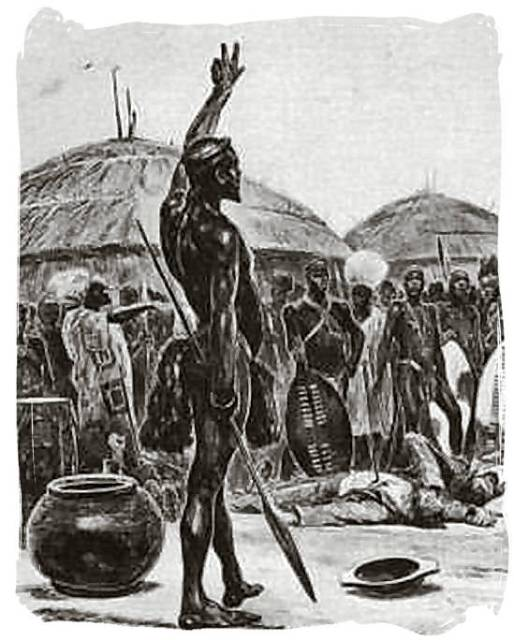 Sketch of King Dingane at the murder of Piet Retief and his men
