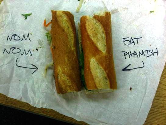 nom nom on the left, eat phamish on the right