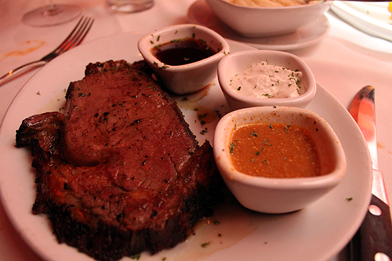 the main course: prime rib with a trio of sauces