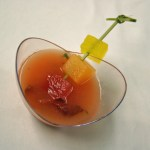 Chilled melon soup with prosciutto chip