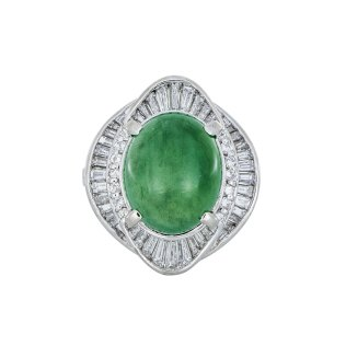 Jade and Diamond Ring White Gold South Bay Gold