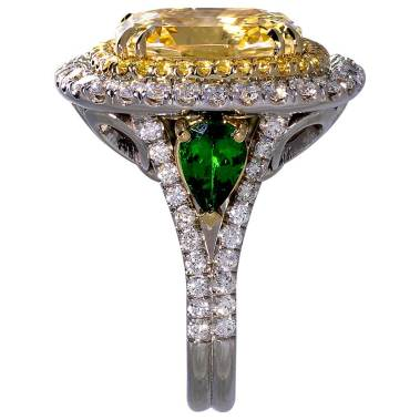 Yellow Sapphire Tsavorites Diamonds Double Halo Two Tone Gold South Bay Gold - Torrance