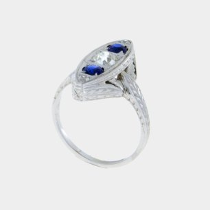 Diamond and Blue Sapphire Vintage Engagement Ring White Gold Old Miners Cut South Bay Gold