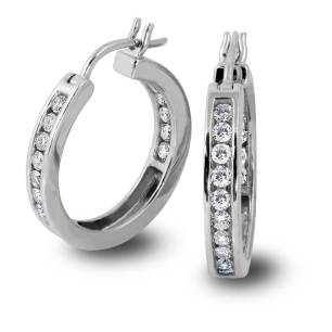 South Bay Gold Diamond Hoops on White Gold - SBG Jewelry Stores Torrance