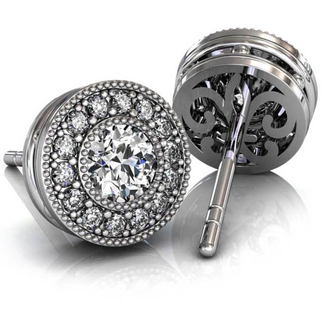 Beaded Halo Diamond Earrings - South Bay Gold