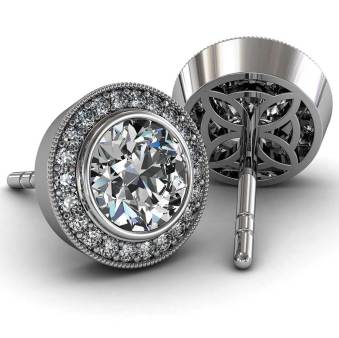 Modern Pave Halo Diamond Earrings - South Bay Gold