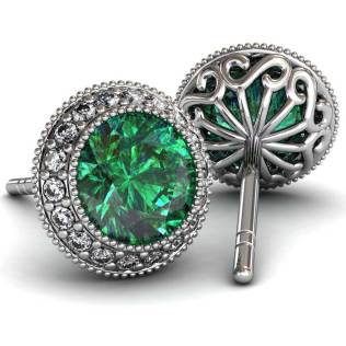 Regal Halo Emerald Earrings - South Bay Gold