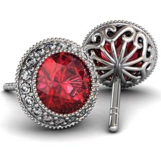 Regal Halo Ruby Earrings - South Bay Gold