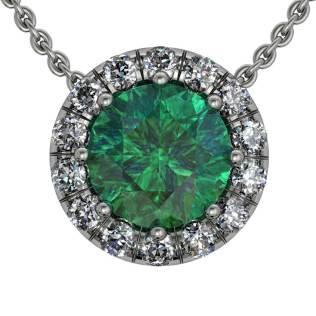 Classic U cut Halo Emerald Pendant - South Bay Gold
