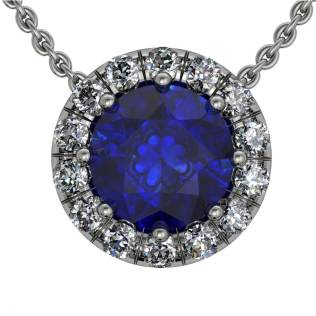 Classic Ucut Halo Sapphire Pendant - South Bay Gold