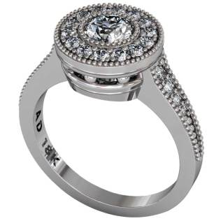 Diamond Beaded Halo Ring - South Bay Gold