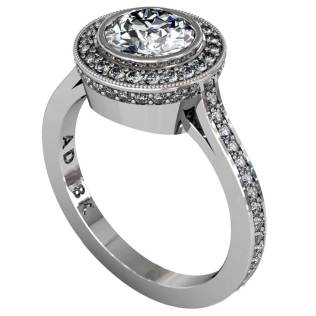 Diamond Modern Pave Halo Ring - South Bay Gold