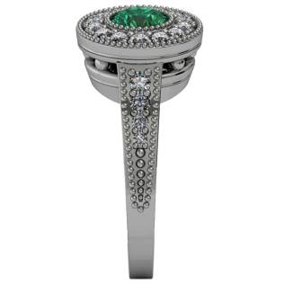 Emerald Beaded Halo Ring - Side-View - South Bay Gold