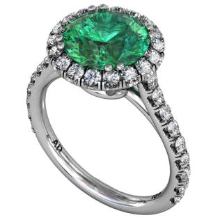 Emerald Classical U cut Halo Ring - South Bay Gold