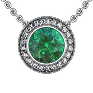 Modern Pave Halo Emerald Pendant - South Bay Gold