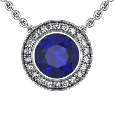 Modern Pave Halo Sapphire Pendant - South Bay Gold