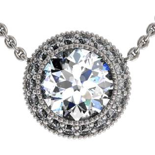 Regal Halo Diamond Pendant Shared-Prongs - South Bay Gold