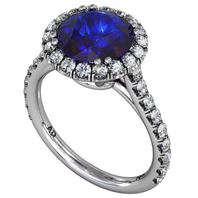 Sapphire Classic Ucut Halo Ring - South Bay Gold
