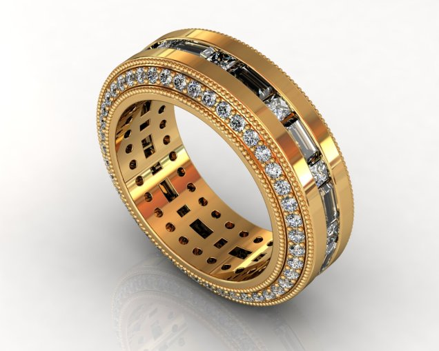 Wedding Bands Custom Design Channel Set 112 Stone 2.65 TCW Diamonds 14.30GR 18KT Yellow Gold Torrance Jewelry Store