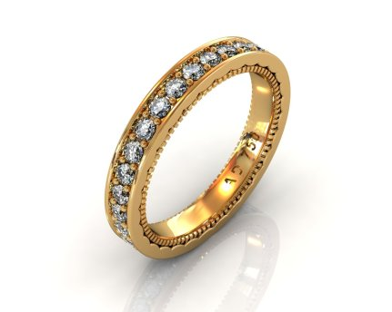 Wedding Bands Ladies Channel Set 30 Stone 0.89 TCW Diamonds 3.92g 18kt Yellow Gold - South Bay Gold