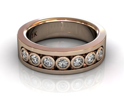 Wedding Bands Ladies Channel Bezel 7 Stone 0.41TCW Diamonds 12.62gr 18kt Rose Gold South Bay Gold