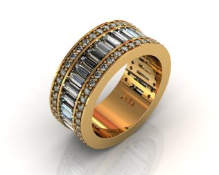 Wedding Bands Ladies Diamonds Channel Set 28 Stone 2.33 TCW Diamonds 14.87g 8kt Yellow Gold - Southbay Gold