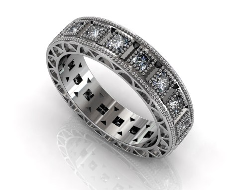 Wedding Bands Ladies Diamonds Channel Set 30 Stone 0.89 TCW Diamonds 9.35g 18kt White Gold Torrance - South Bay Gold