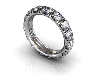 Wedding Bands Ladies Diamonds Craponia Setting 15 Stone 3.85 TCW Diamonds 4.60g 18kt White Gold