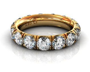 Wedding Bands Ladies Diamonds Craponia Setting 15 Stone 3.85 TCW Diamonds 4.60g 18kt Yelllow Gold
