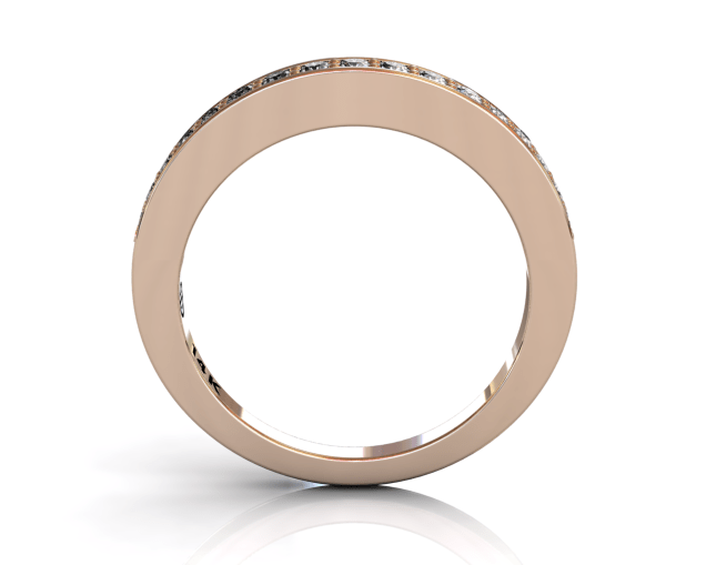 Wedding Bands Ladies Diamonds Pave 17 Stone 0.27TCW Diamonds 4.48GR 18KT Rose Gold Jewelry Store Torrance