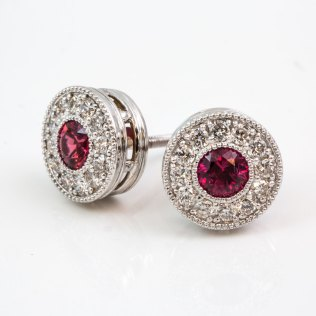 Beaded Halo Ruby Diamond Stud Earrings