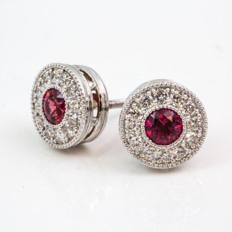 Beaded Halo Ruby Diamond Stud Earrings