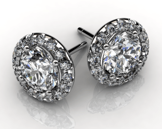 Diamond Halo Stud Earrings Valentine's Day Special