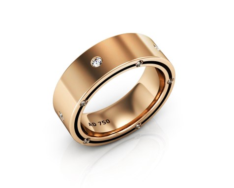 15 Stone Diamond Rose Gold Men's Wedding Bands