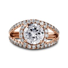 Double Band Diamond Halo Engagement Ring Rose Gold - Los Angeles Jewelry Store