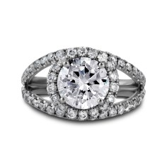 Double Band Diamond Halo Engagement Ring White Gold - Los Angeles Jewelry Store