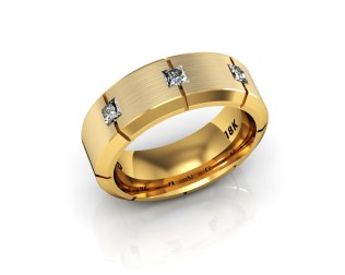 8 Stone Diamond and Gold Men's Wedding Bands