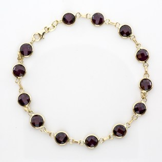 Bracelet 14k Yellow Gold Garnet Gemstones - By The Yard SBG Jewelry Store Torrance