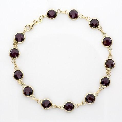 Bracelet 14k Yellow Gold Garnet Gemstones - By The Yard SBG Jewelry Store Torrance