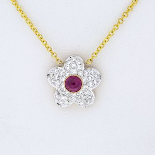 Ruby Diamond Flower Estate Pendant - South-Bay-Gold